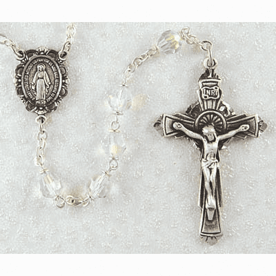 McVan Pewter Miraculous Medal 6mm Tin Cut Crystal Catholic Rosary