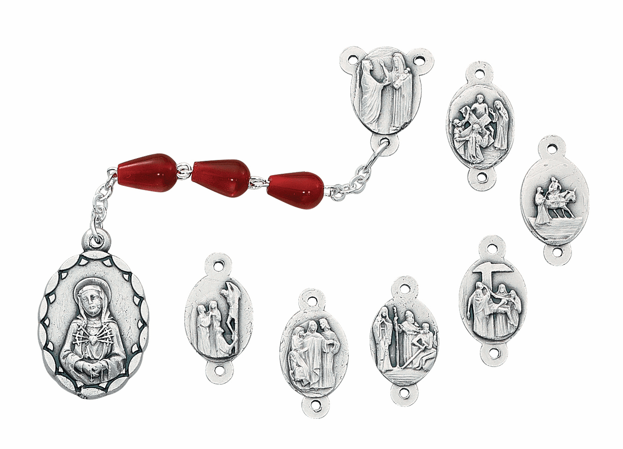 McVan Red Teardrop Bead Seven Sorrows Prayer Chaplet
