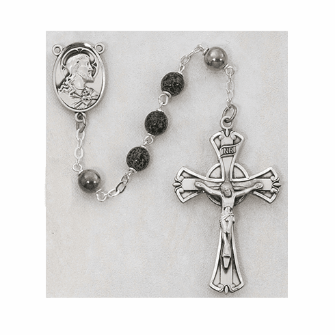 McVan Sacred Heart of Jesus 7mm Green and Black Marble Catholic Rosary