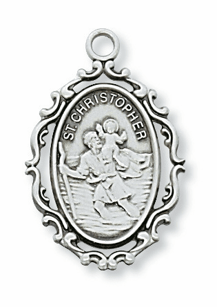 McVan St Christopher Fancy Border Sterling Silver Medal Necklace