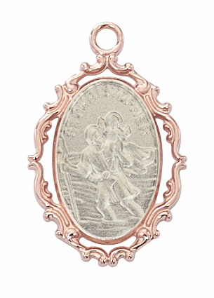 McVan St Christopher Rose Gold Plated Border with Sterling Silver Medal Necklace