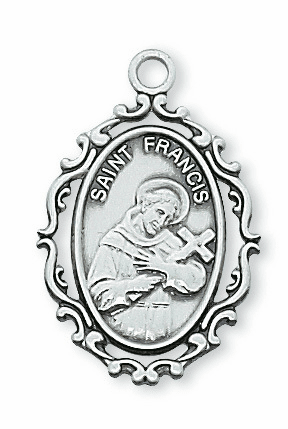 McVan St Francis Fancy Border Sterling Silver Medal Necklace