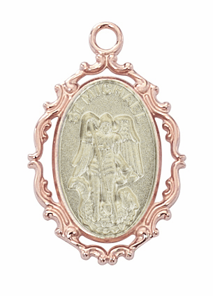 McVan St Michael Archangel Rose Gold Plated Border with Sterling Silver Medal Necklace