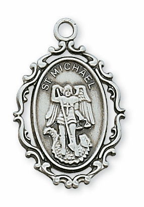 McVan St Michael Fancy Border Sterling Silver Medal Necklace