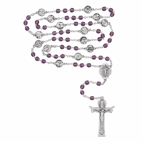 McVan Station of the Cross Purple Glass Catholic Chaplet Rosary