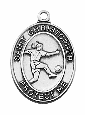 McVan Sterling Silver Girls Soccer Sports Pendant Necklace