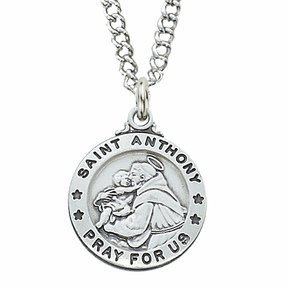 McVan Sterling Silver St Anthony Pendant Necklace with Chain