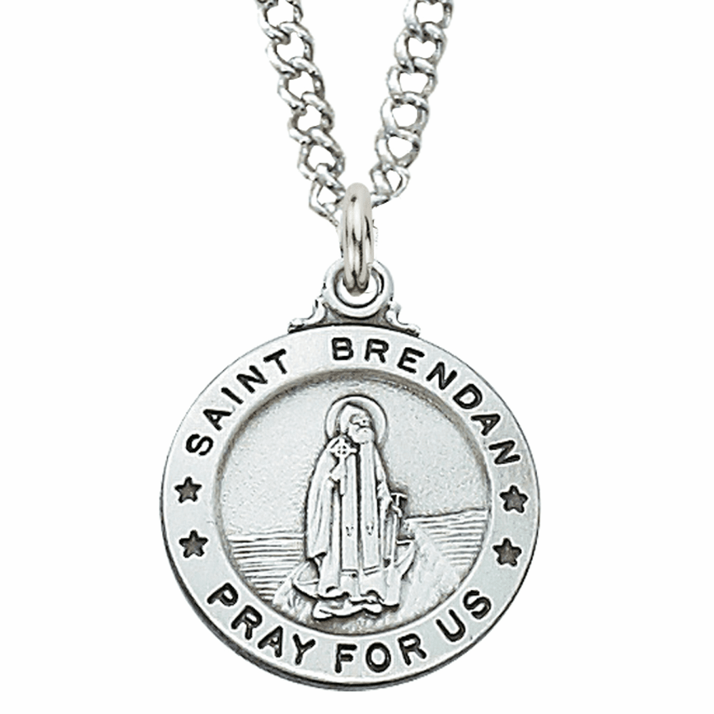 McVan Sterling Silver St Brendan Pendant Necklace with Chain