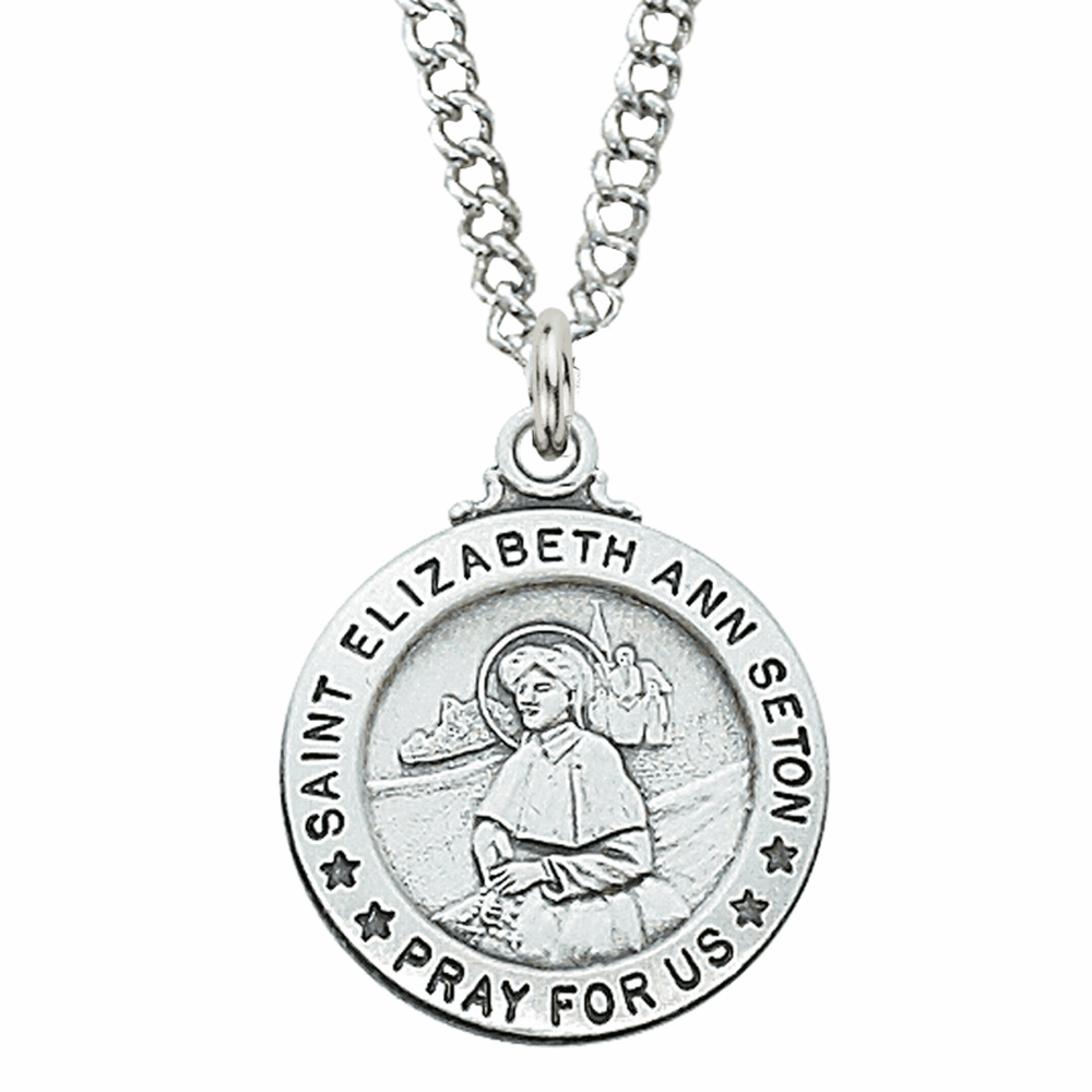 McVan Sterling Silver St Elizabeth Ann Seton Pendant Necklace with Chain