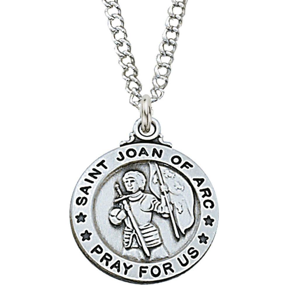 McVan Sterling Silver St Joan of Arc Pendant Necklace with Chain