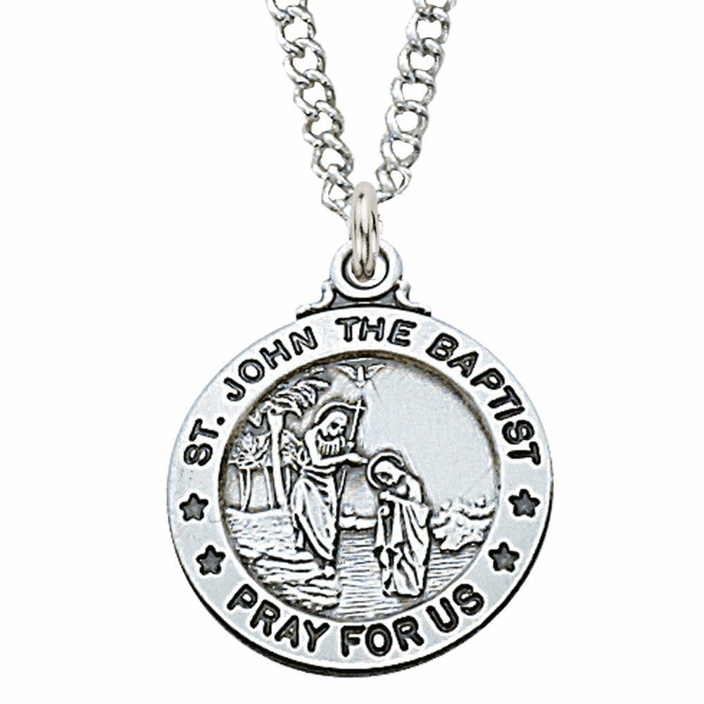 McVan Sterling Silver St John the Baptist Pendant Necklace with Chain