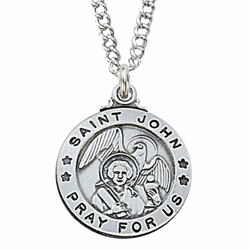 McVan Sterling Silver St John the Evangelist Pendant Necklace with Chain