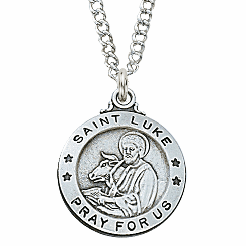 McVan Sterling Silver St Luke Pendant Necklace with Chain