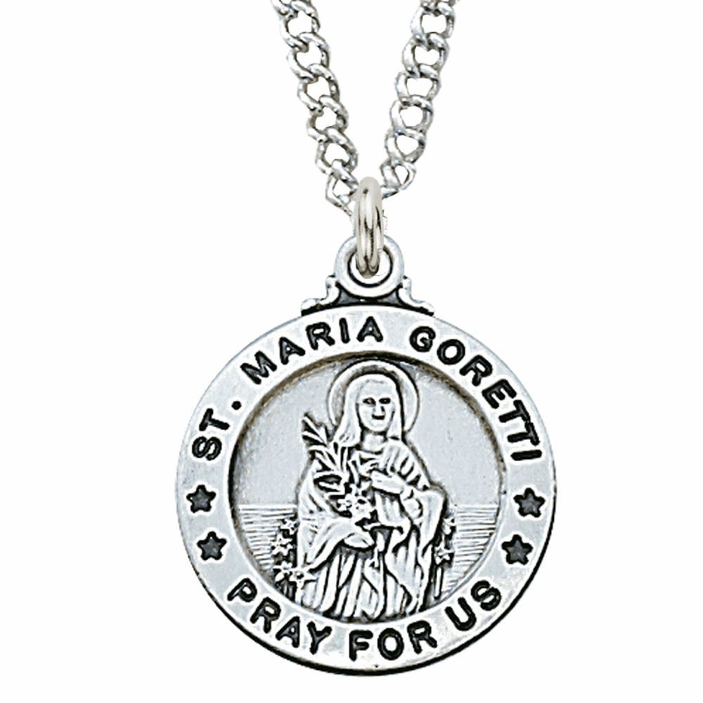 McVan Sterling Silver St Maria Goretti Pendant Necklace with Chain