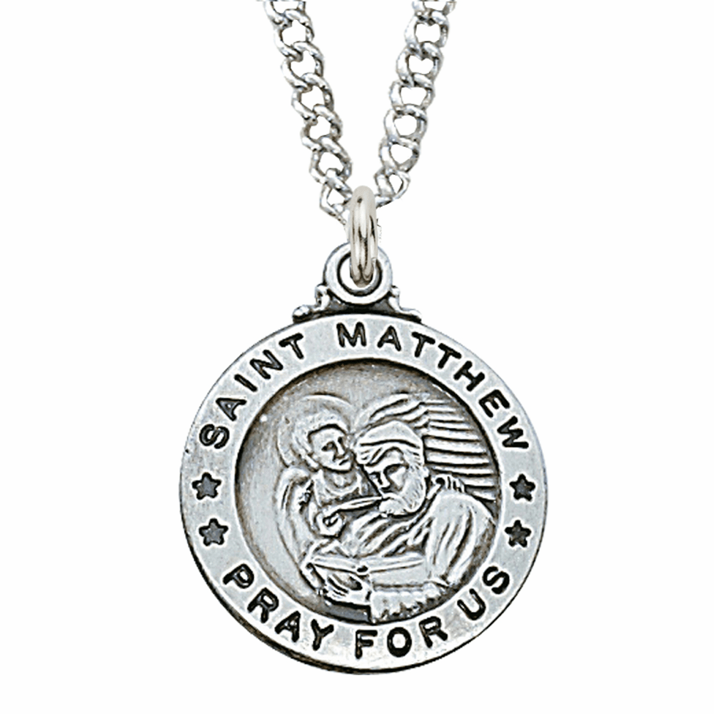 McVan Sterling Silver St Matthew the Evangelist Pendant Necklace with Chain