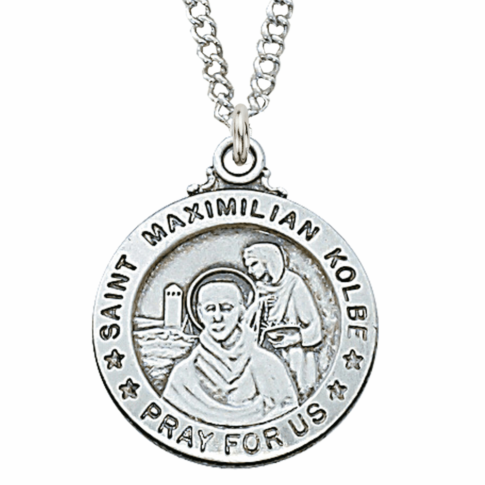 McVan Sterling Silver St Maximillian Kolbe Pendant Necklace with Chain