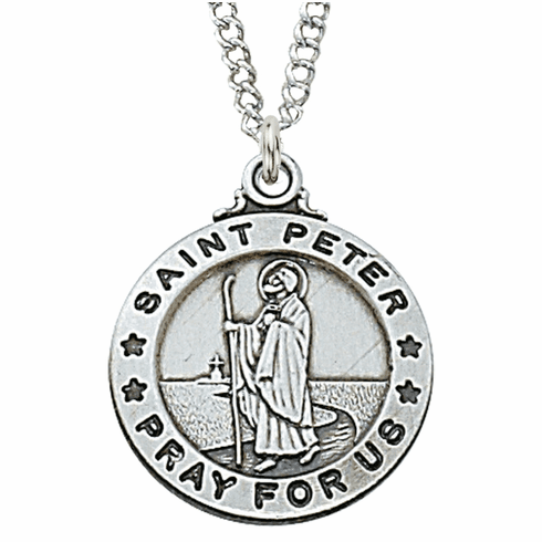 McVan Sterling Silver St Peter Pendant Necklace with Chain