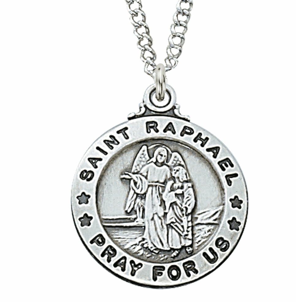 McVan Sterling Silver St Raphael Pendant Necklace with Chain