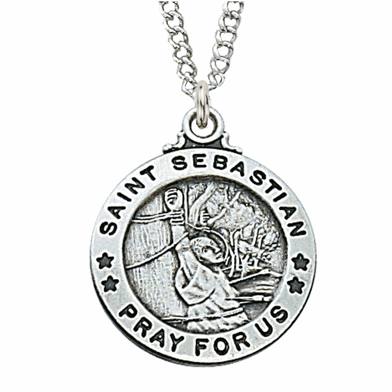 McVan Sterling Silver St Sebastian Pendant Necklace with Chain