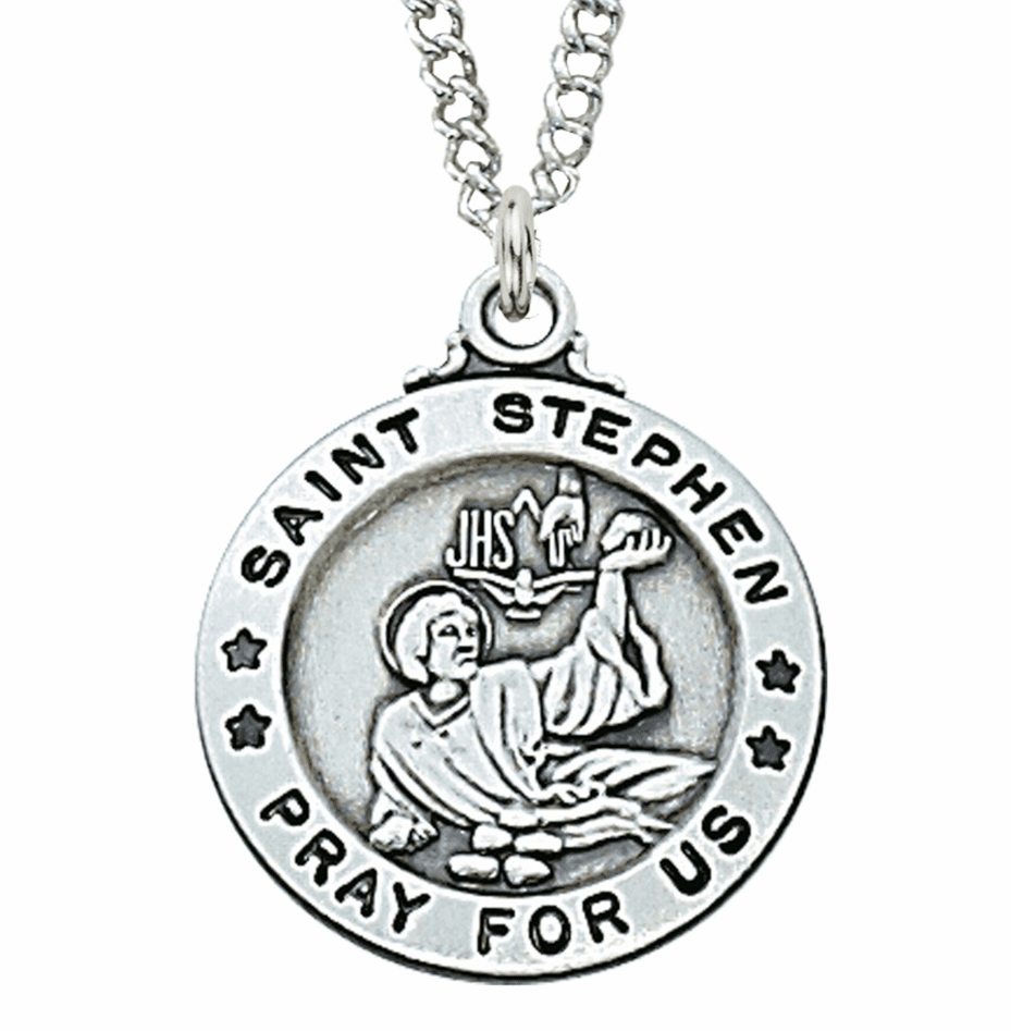 McVan Sterling Silver St Stephen Pendant Necklace with Chain
