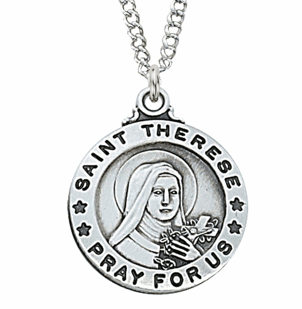 McVan Sterling Silver St Therese Pendant Necklace with Chain