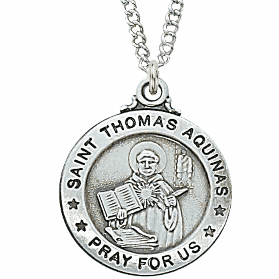 McVan Sterling Silver St Thomas Aquinas Pendant Necklace with Chain