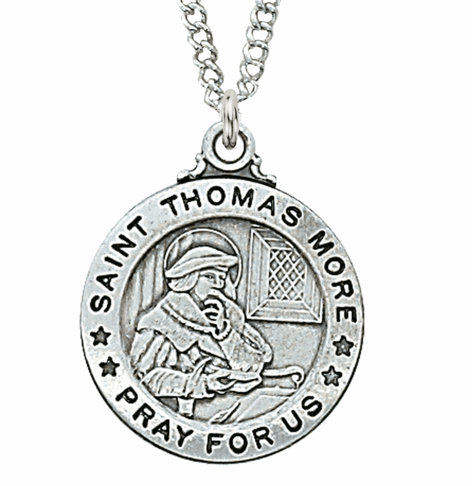 McVan Sterling Silver St Thomas More Pendant Necklace with Chain