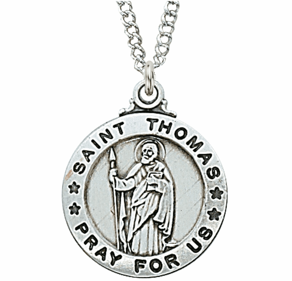 McVan Sterling Silver St Thomas the Apostle Pendant Necklace with Chain