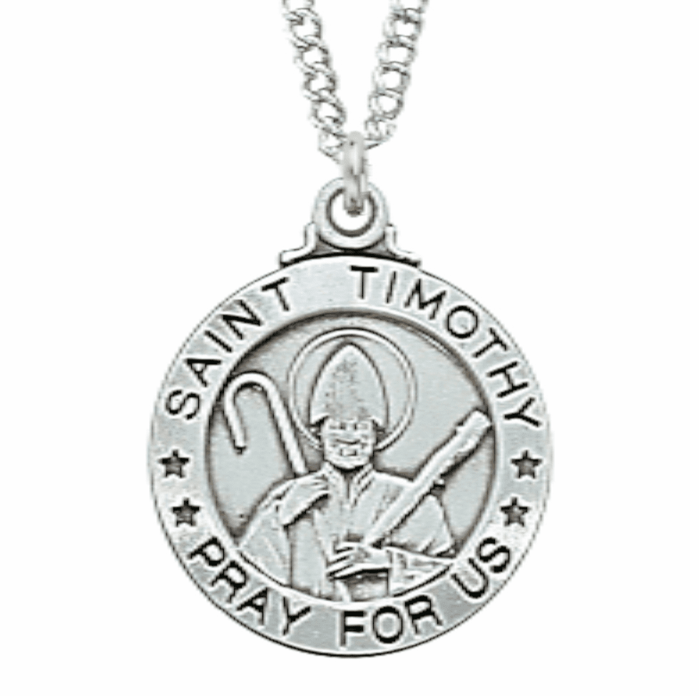 McVan Sterling Silver St Timothy Pendant Necklace with Chain