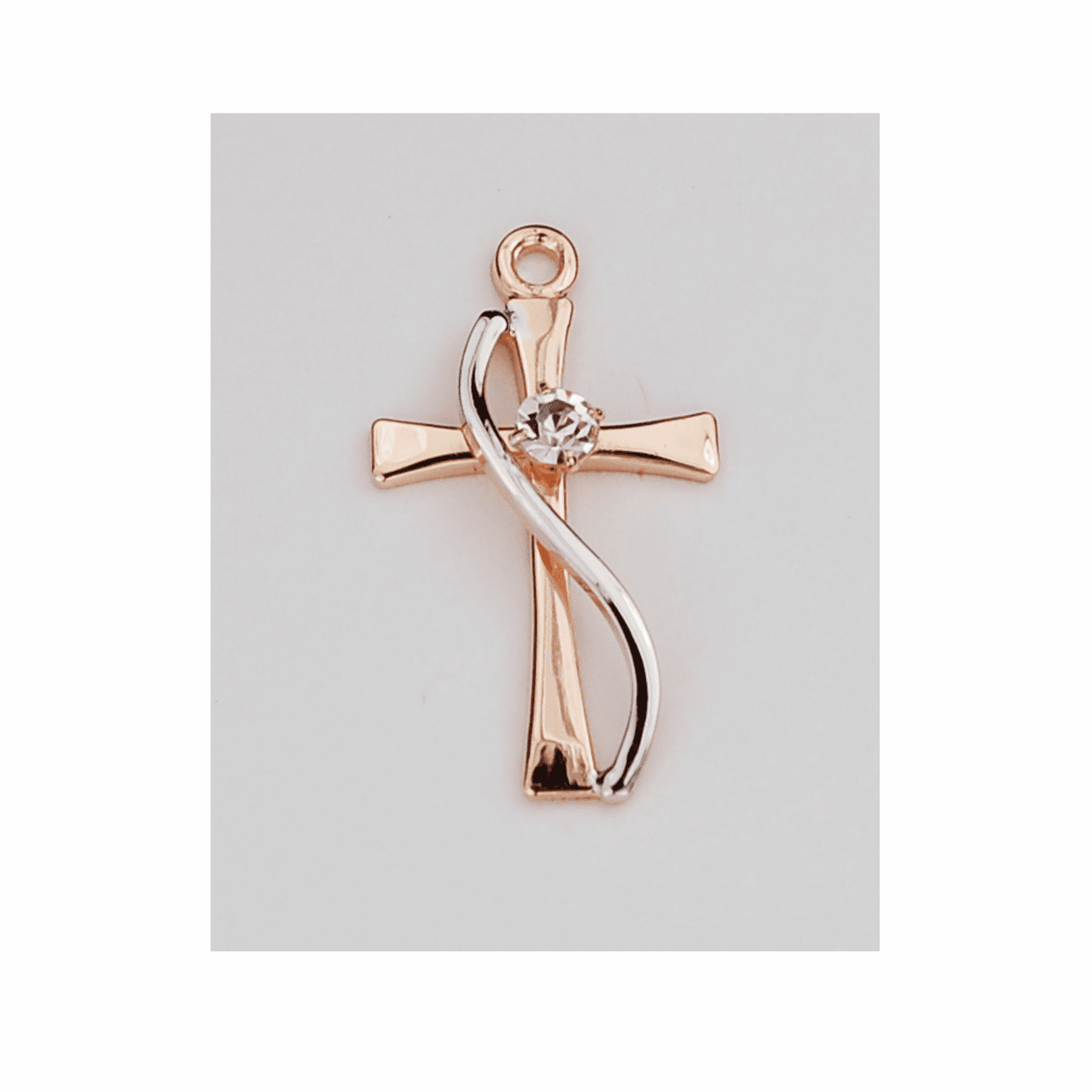 McVan Two-Tone Rose Gold Plated Over Sterling Silver with Crystal Cross Necklace