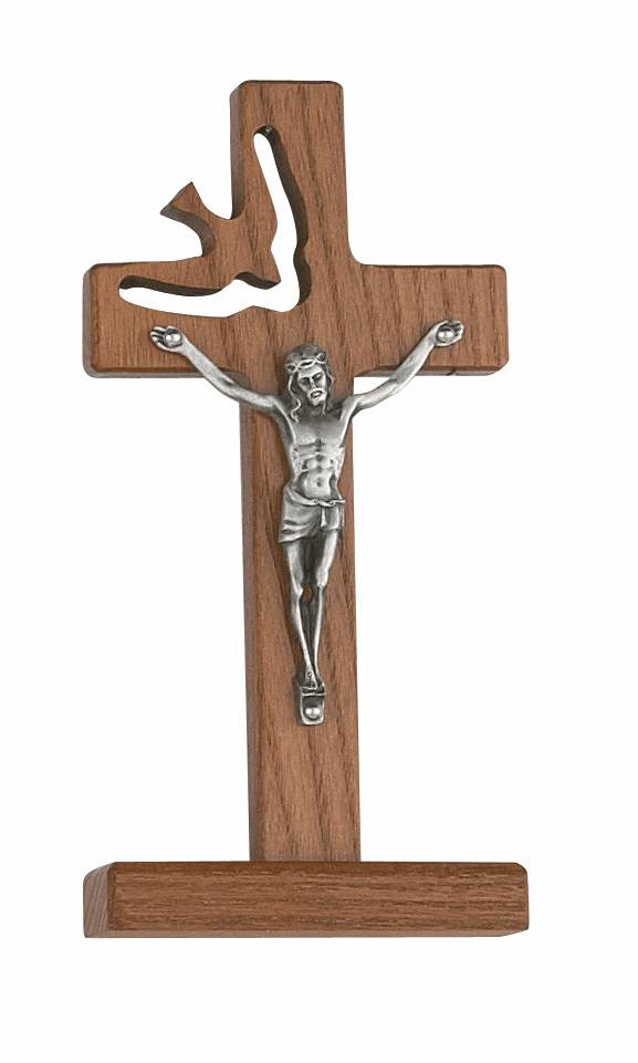 McVan Walnut Stained 6in Holy Spirit Standing Cross