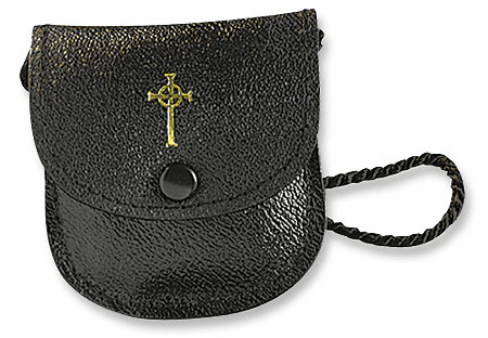 Medium Black Leather Burse with Strap by Stratford Chapel