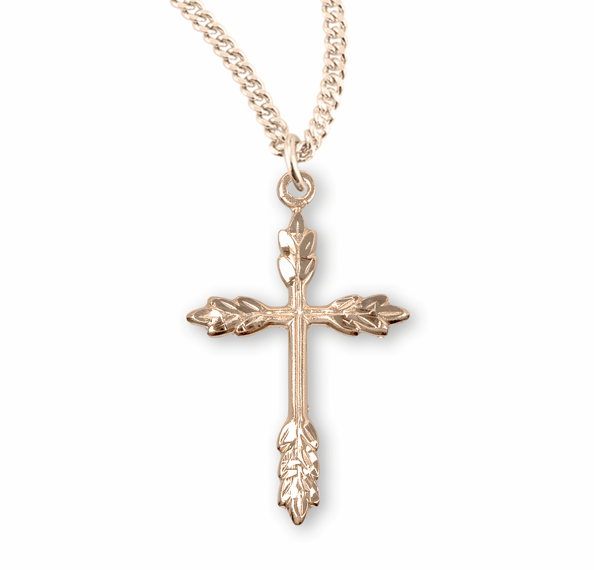 Medium Gold Wheat Cross Necklace by HMH Religious