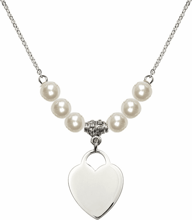 Medium Plain Heart 6mm Faux Pearls Necklace by Bliss Mfg