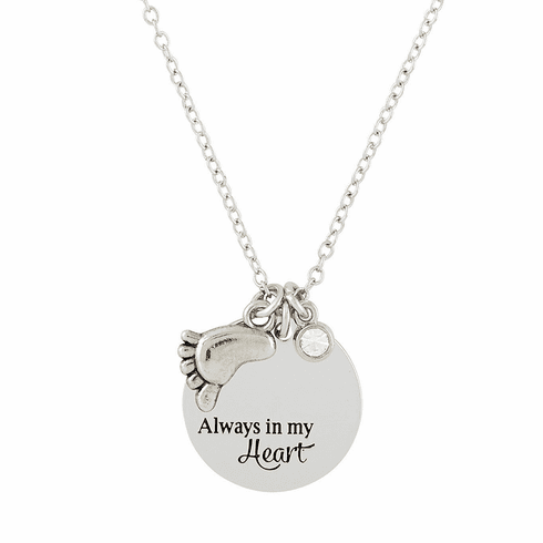 Memorial Always in My Heart Baby Foot and Rhinestone Crystal Necklace