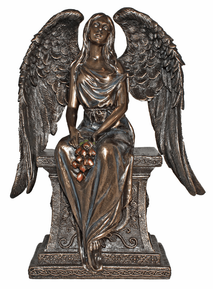 Memorial Angel with Roses Cold Cast Bronze Statue by Veronese Collection