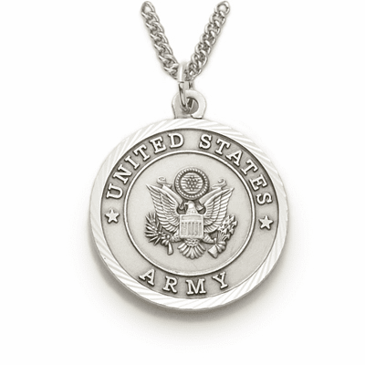 Men's US Army St Michael Sterling Military Necklace by Singer