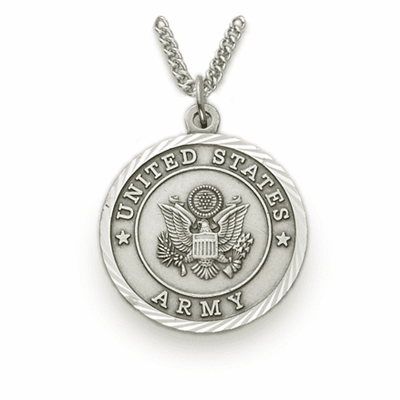 Mens Army Sterling Medal w/Christian Cross Necklace by Singer