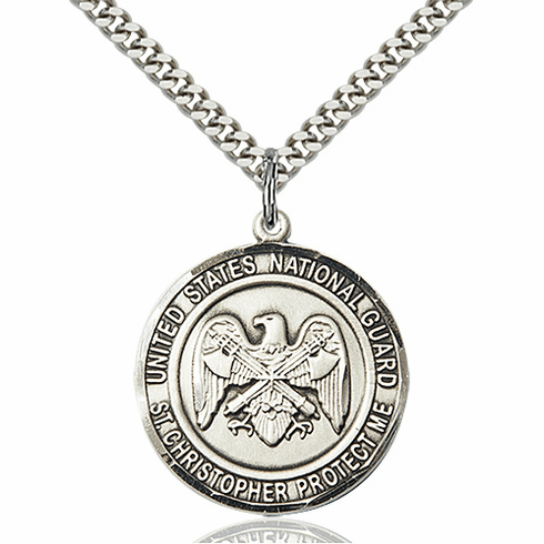Mens National Guard Patron St Christopher Sterling Silver Engravable Medal Necklace by Bliss