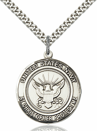 Mens Navy Patron St Christopher Sterling Silver Medal Engravable Necklace by Bliss