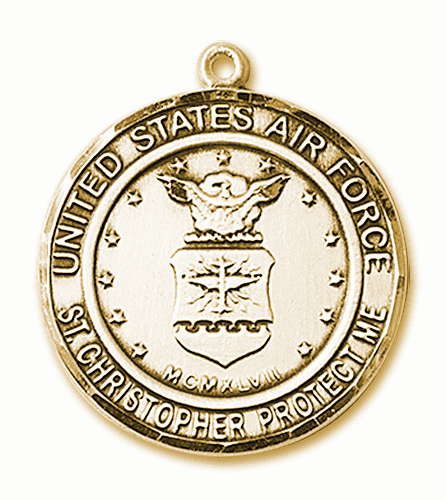 Mens US Air Force Patron Saint Christopher 14kt Gold Engravable Medal by Bliss