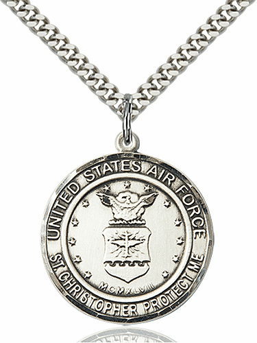 Mens US Air Force Patron Saint Christopher Pewter Engravable Medal Necklace by Bliss