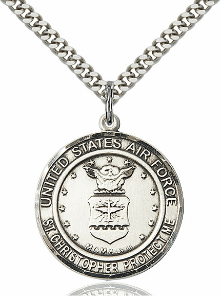 Mens US Air Force Patron Saint Christopher Sterling Silver Engravable Medal Necklace by Bliss