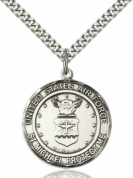 Mens US Air Force Patron Saint Michael Pewter Engravable Medal Necklace by Bliss