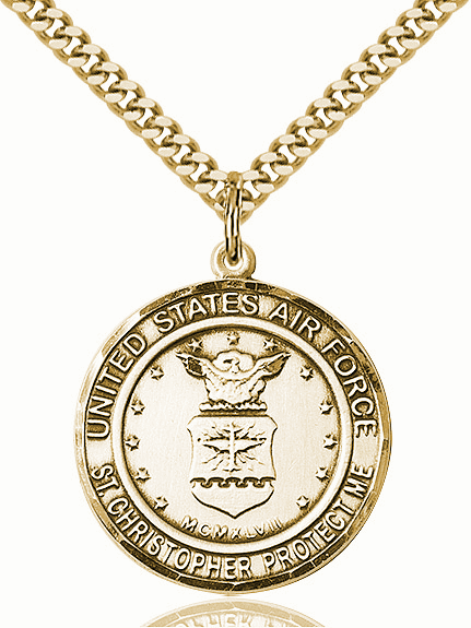 Mens US Air Force Saint Christopher 14kt Gold-filled Engravable Medal Necklace by Bliss