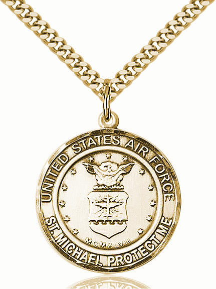 Mens US Air Force Saint Michael 14kt Gold-filled Engravable Medal Necklace by Bliss