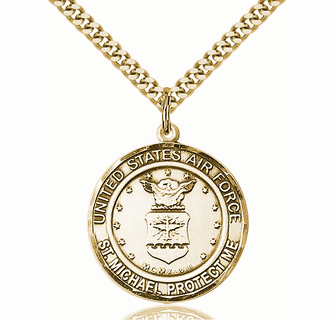 MICHAEL Pendant 14kt Gold Filled AIR FORCE//ST Gold Plate Heavy Curb Chain Patron Saint Police Officers//EMTs 1 x 7//8