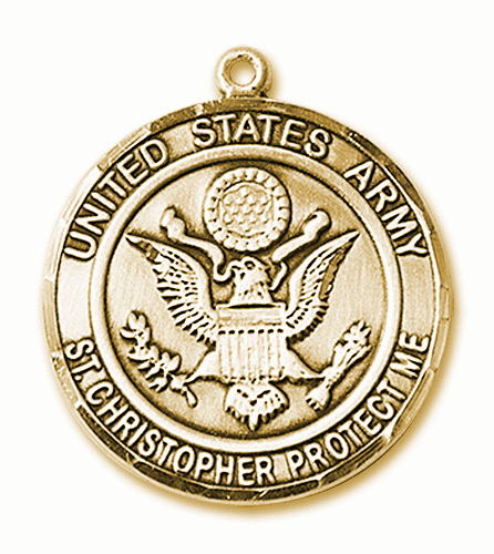 Mens US Army Patron Saint Christopher 14kt Gold Engravable Medal by Bliss