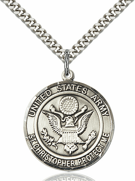 Mens US Army Patron Saint Christopher Sterling-Filled Engravable Medal Necklace by Bliss