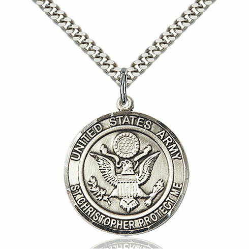 Mens US Army Patron Saint Christopher Sterling Silver Engravable Medal Necklace by Bliss